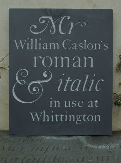 Caslon carved into slate