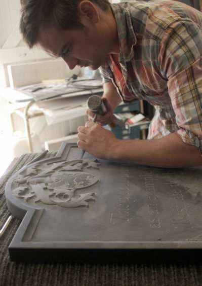 Fergus Wessel carving headstone