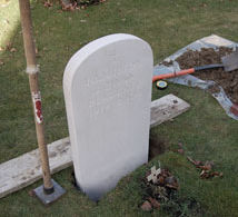 fixing a headstone monolith