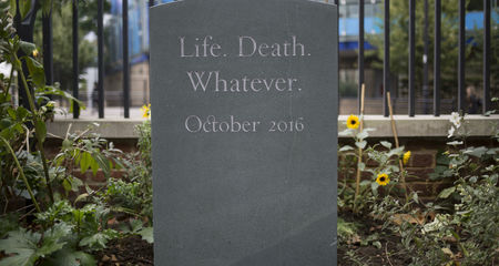 Headstone for Life Death Whatever at Sutton House