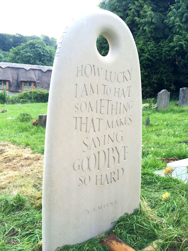 portland headstone with quote by A A Milne