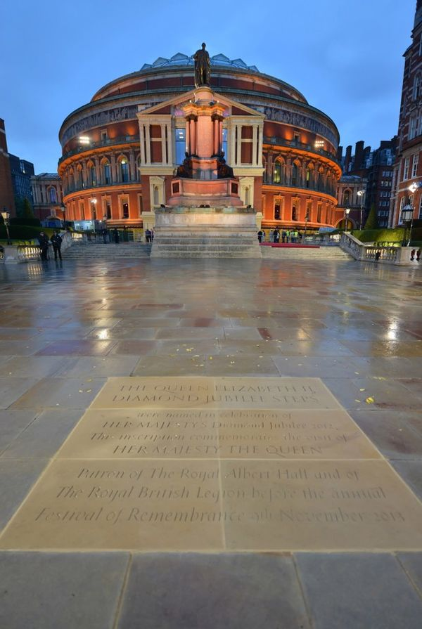 royal commemorative plaque at the Royal Albert Hall