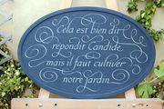 slate garden wall plaque with italic flourishes