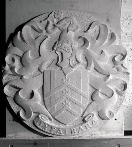 Heraldic carving for Sir David John in Portland limestone