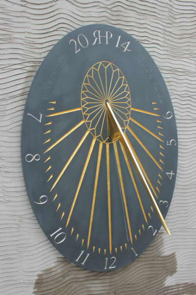 sundial in slate with gold leaf