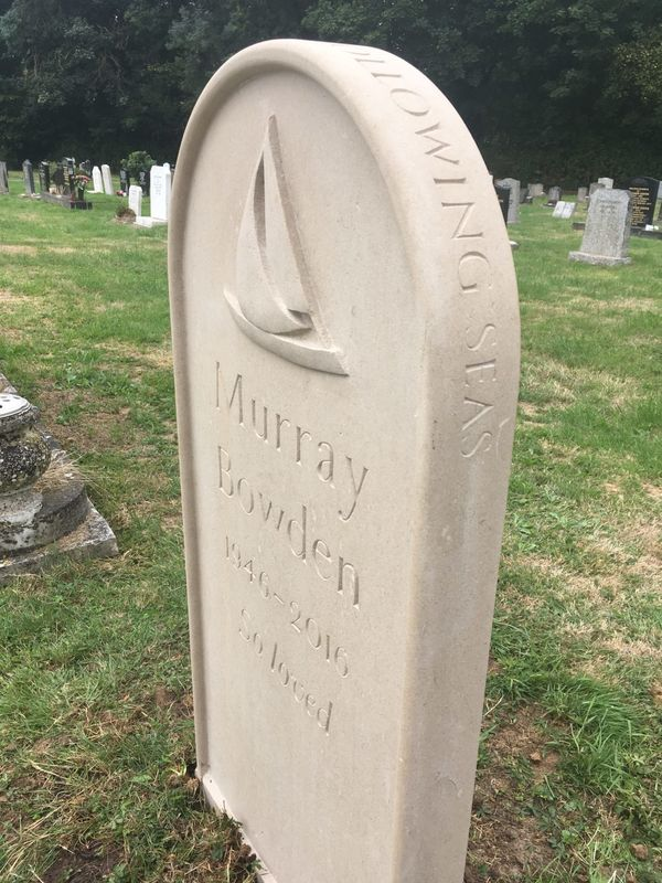 Portland headstone with boat