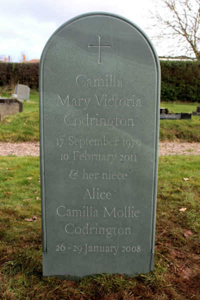 infant gravestone with lettering based on Caslon with ornamental ligatures