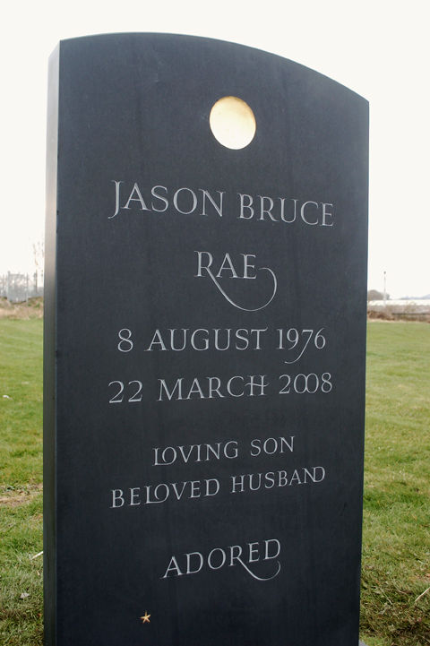 unique slate headstone for Jason Rae