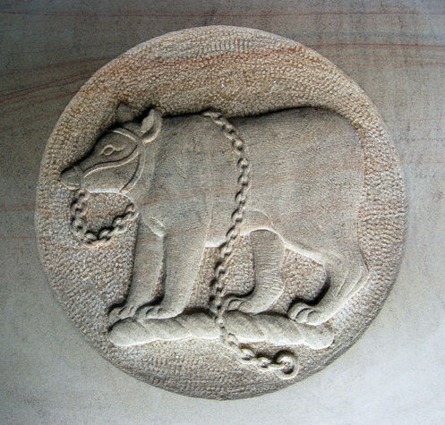 heraldic carving of a bear in York stone