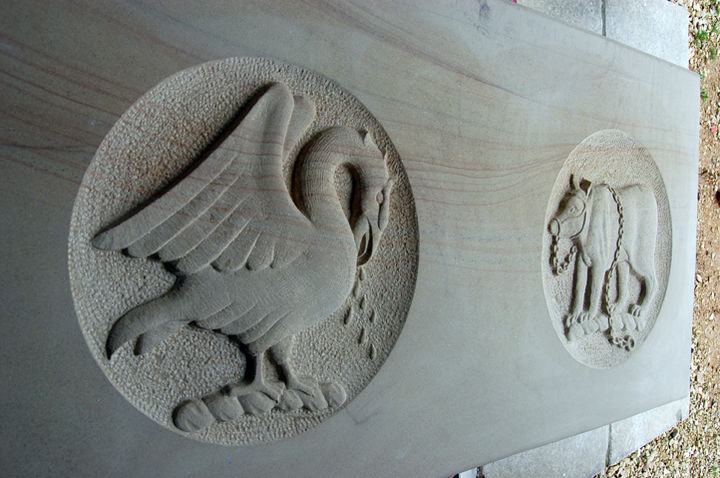 heraldic carving of a bird in a private house in Hampshire