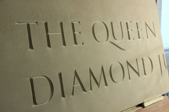 close  up of hand carved lettering for the Royal Albert Hall