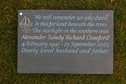 bespoke cremation tablet in slate