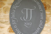 Garden wall plaque in slate with painted lettering