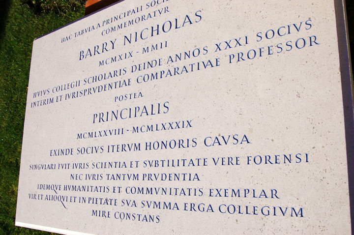 memorial plaque in hopton wood painted for Brasenose College