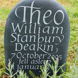 slate pebble headstone
