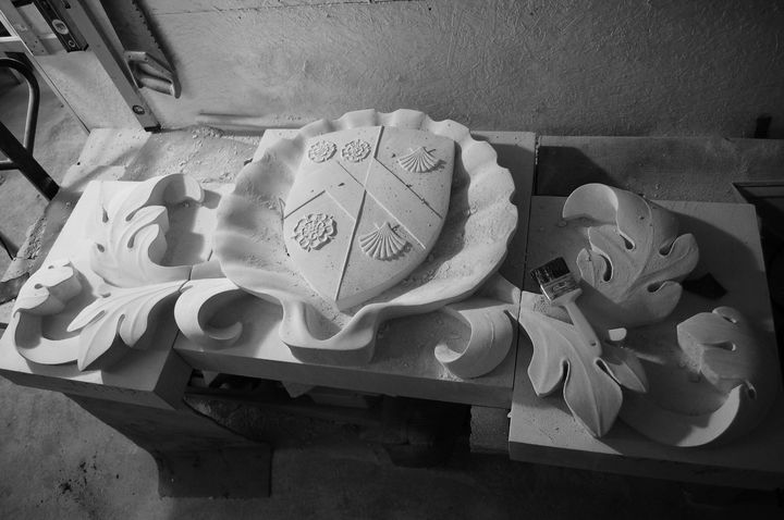 close up of scallop shell carving for Holywell Music Room