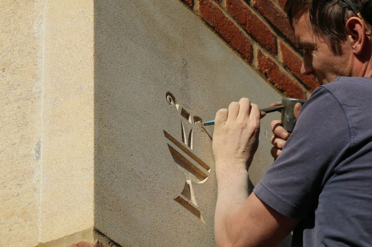 Carving St Edward's School Crest