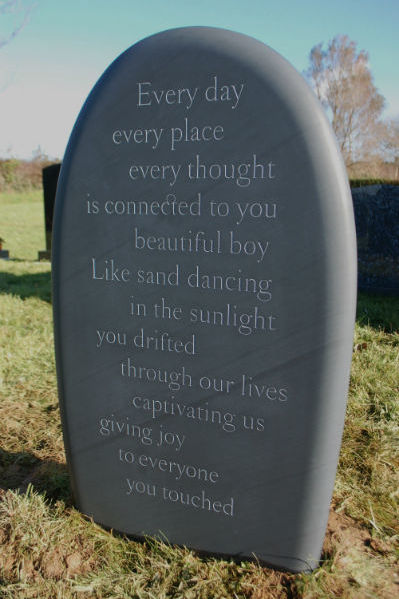 bespoke memorial with inscription