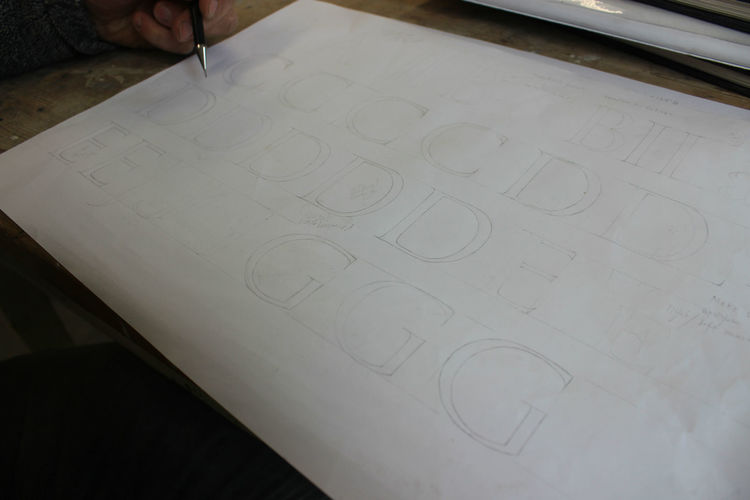 letters drawn onto paper