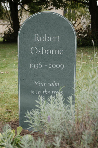 green slate headstone with beaded edge