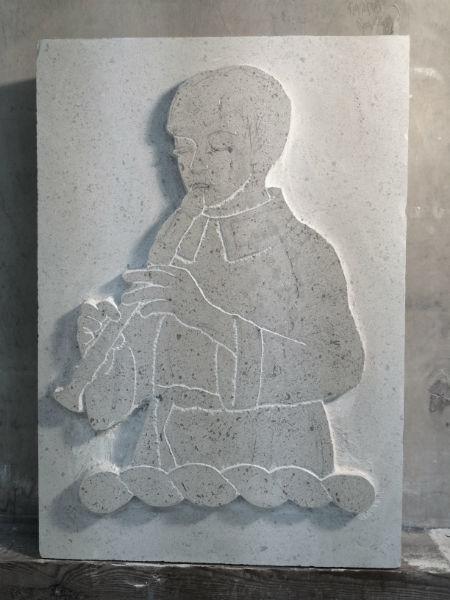heraldic carving in progress