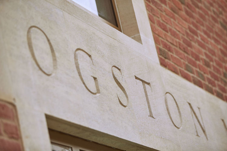 architectural lettering close up