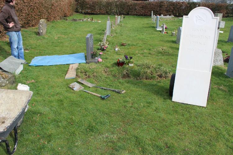 gravestone before going into ground