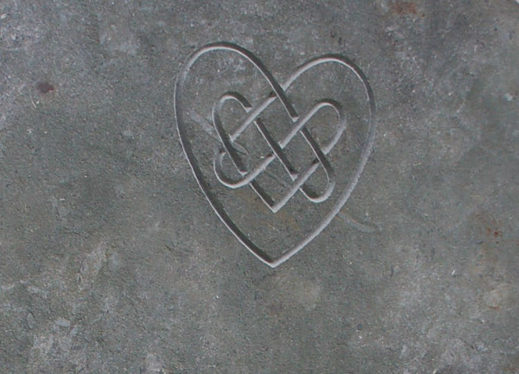 heart line carving headstone