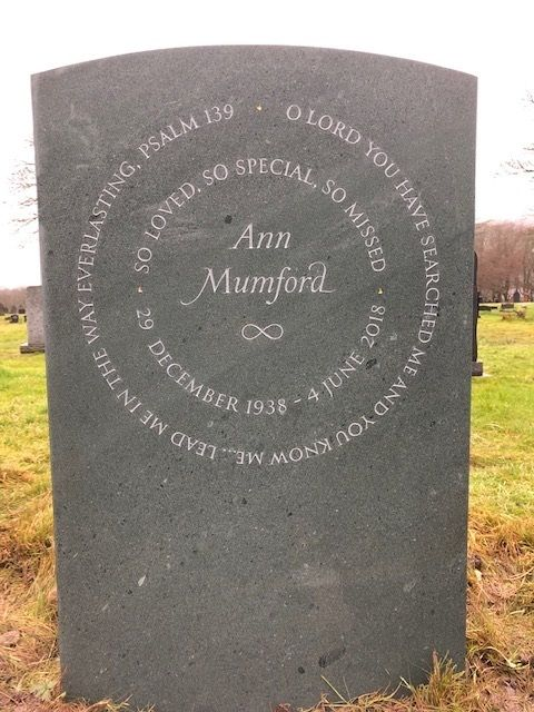 Headstone quote in slate