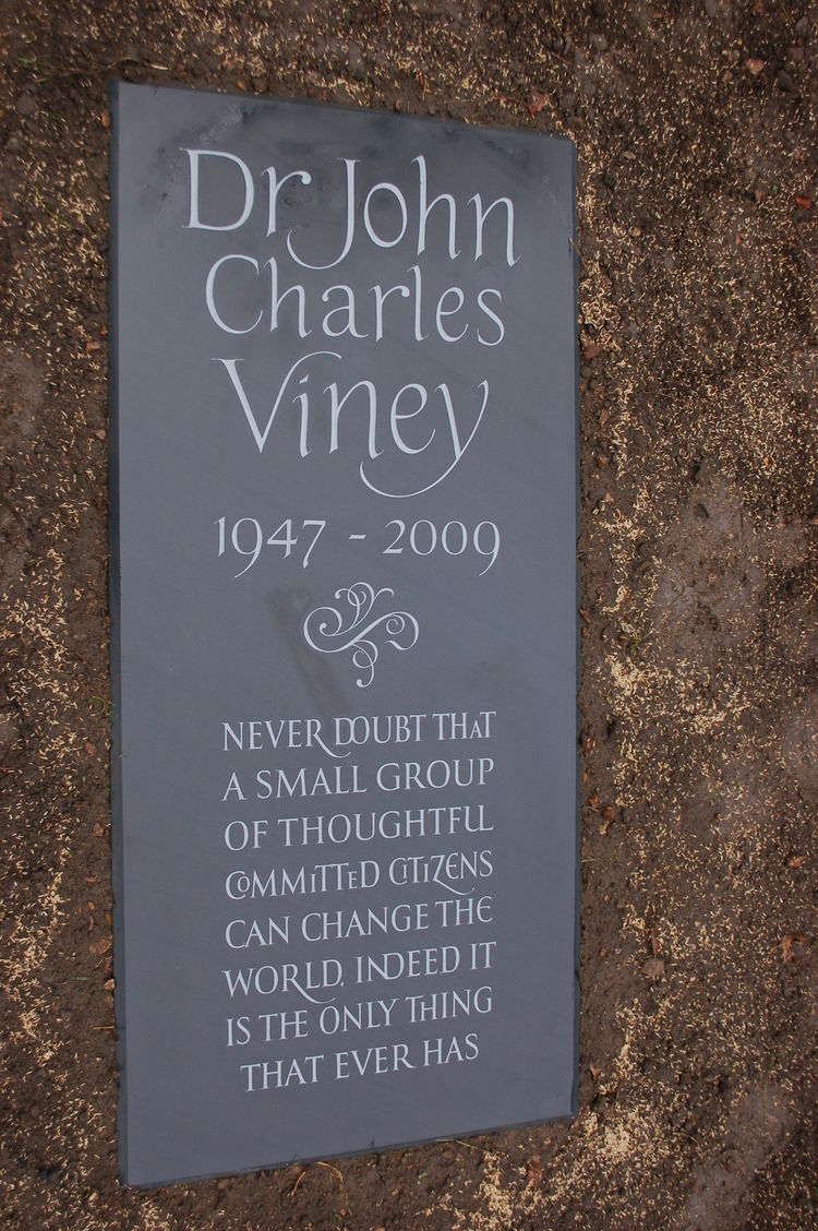 memorial for a man in slate
