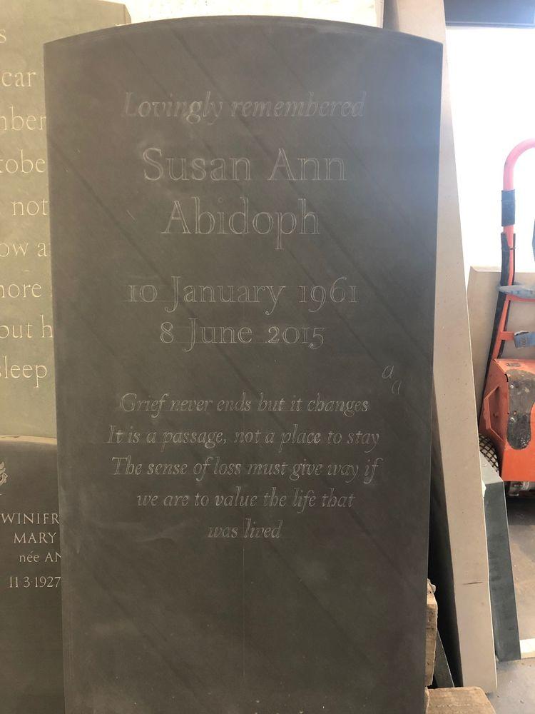 bespoke headstone in progress