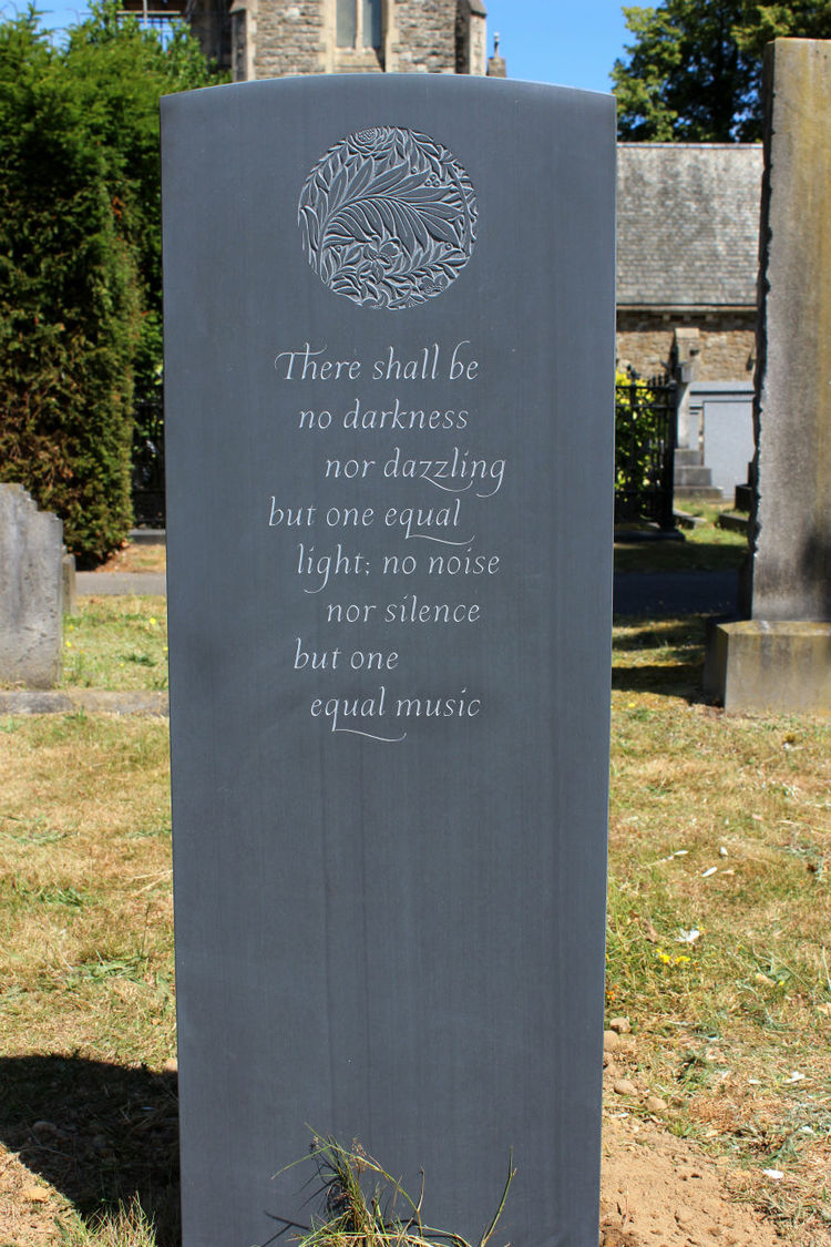 Unusual slate headstone with poem