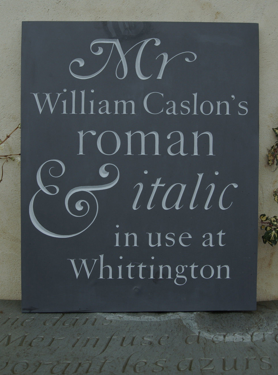 caslon lettering at the Whittington Press