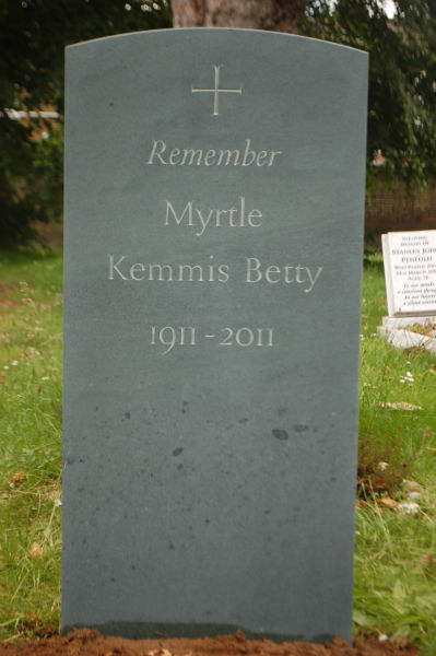 green slate gravestone for Myrtle