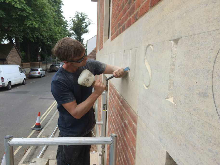 Fergus carving inscription at St Edward's School, Oxford