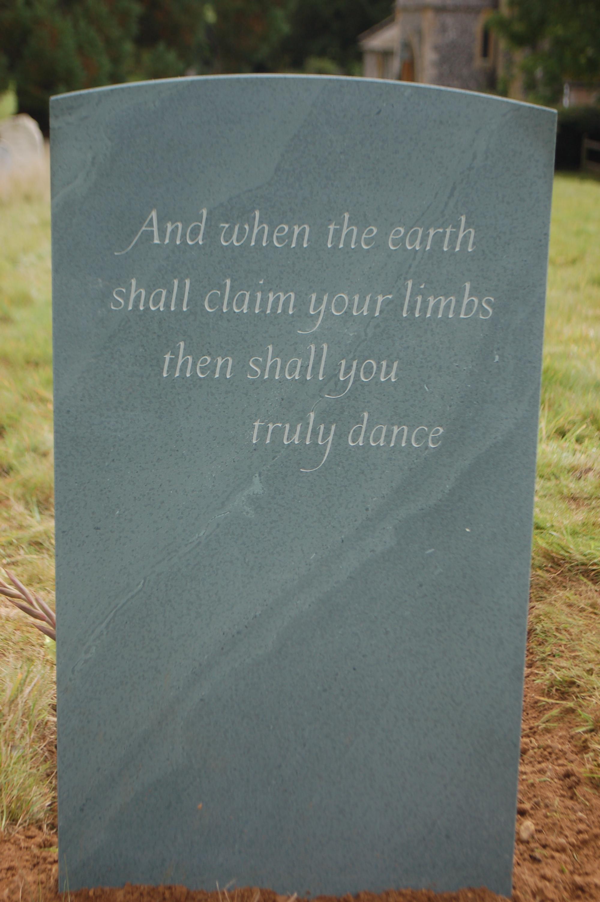 green slate headstone epitaph