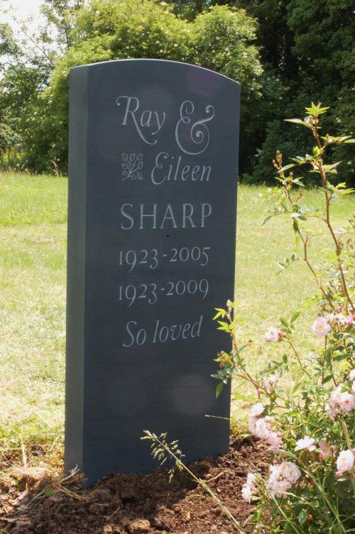 bespoke slate headstone with Caslon lettering